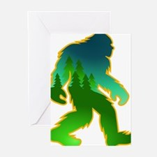 Sasquatch Forest Scene Greeting Cards