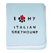 I *heart* My Italian Greyhoun baby blanket