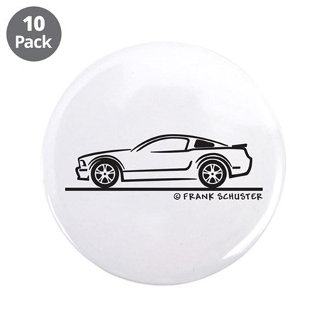 """Ford Mustang GT Fastback 3.5"""" Button (10 pack)"""