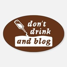 """Drink n Blog"" Oval Decal"