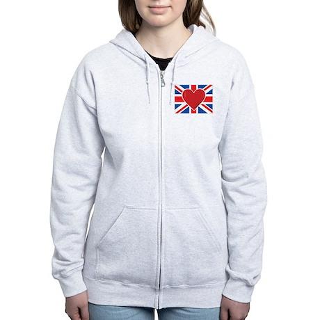 Heart British Flag Women's Zip Hoodie