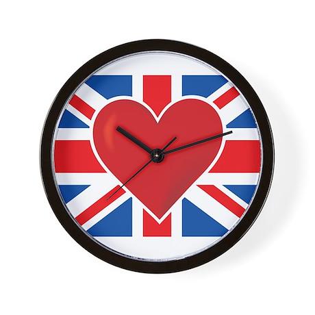 Heart British Flag Wall Clock