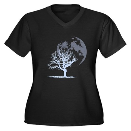 Dead Tree Moon Women's Plus Size V-Neck Dark T-Shi
