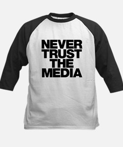 Never Trust The Media Kids Baseball Jersey