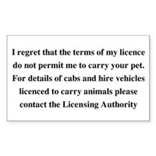 Not Permitted to Carry Pets Rectangle Decal