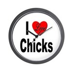 I Love Chicks Wall Clock