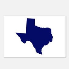 Texas - Blue Postcards (Package of 8)