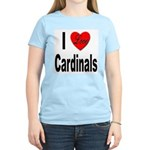 I Love Cardinals (Front) Women's Pink T-Shirt