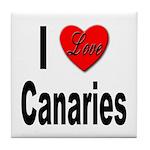 I Love Canaries Tile Coaster