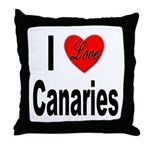 I Love Canaries Throw Pillow