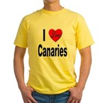 I Love Canaries (Front) Yellow T-Shirt
