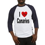 I Love Canaries (Front) Baseball Jersey