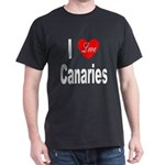 I Love Canaries (Front) Black T-Shirt