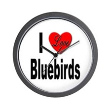 I Love Bluebirds Wall Clock