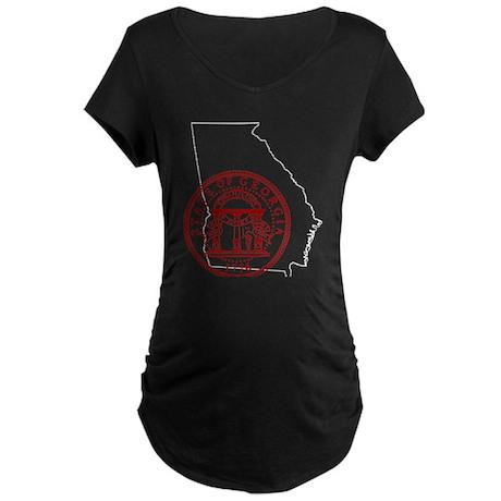 Georgia Seal & Map Maternity Dark T-Shirt