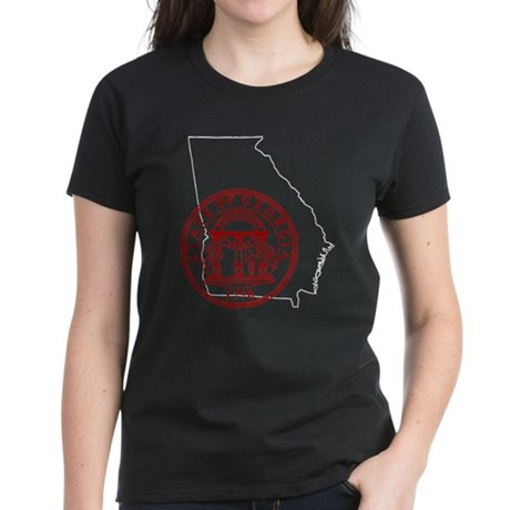 Georgia Seal & Map Women's Dark T-Shirt