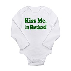 Kiss Me, I'm Shitfaced! Long Sleeve Infant Bodysui