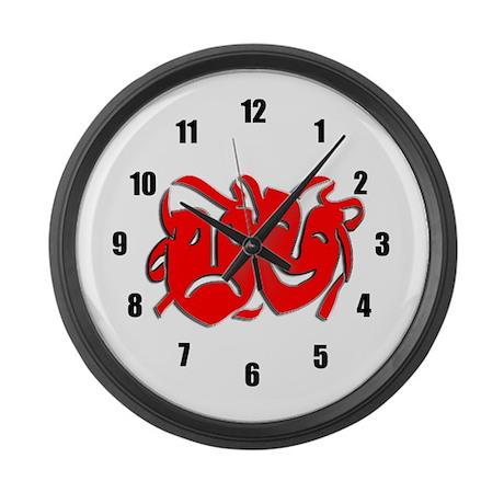 Red Masks Large Wall Clock
