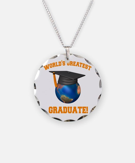 World's Greatest Graduate Necklace Circle Charm