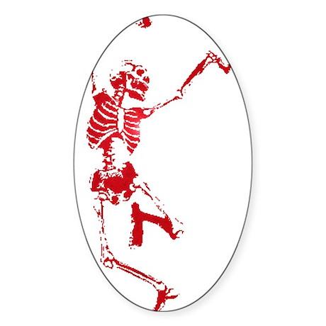 The Dancing Skeleton Oval Sticker