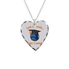 Look Out World Here I Come Necklace Heart Charm