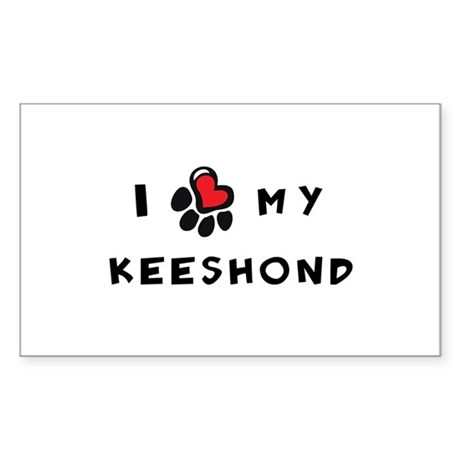 I *heart* My Keeshond Sticker (Rectangle)