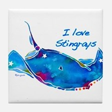 I LOVE STINGRAYS Tile Coaster