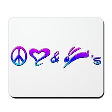 Rainbow Peace Love & Bunnies Mousepad