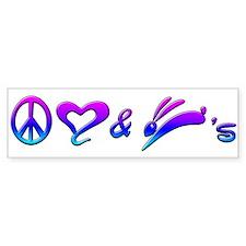 Rainbow Peace Love & Bunnies Bumper Bumper Sticker