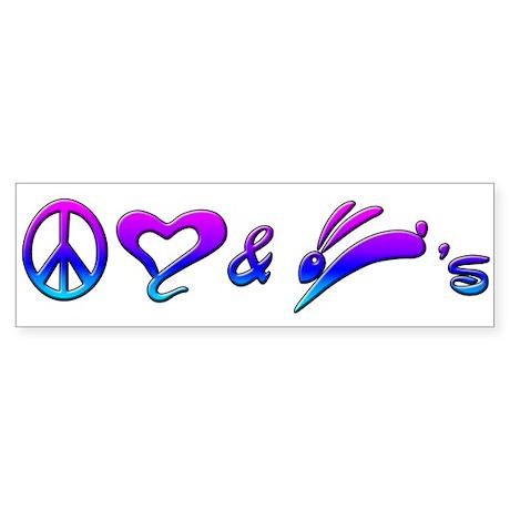 Rainbow Peace Love & Bunnies Bumper Sticker
