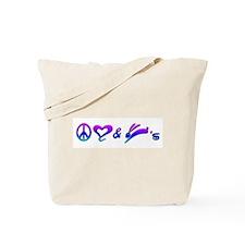 Rainbow Peace Love & Bunnies Tote Bag