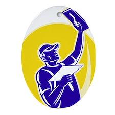 plasterer worker tradesman Ornament (Oval)