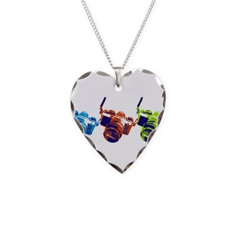 Pop Art Retro Camera Necklace Heart Charm