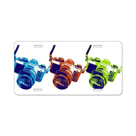 Pop Art Retro Camera Aluminum License Plate