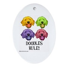 Doodles Rule Oval Ornament