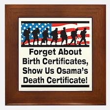 Show Us Osama's Death Certificate Framed Tile