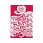 Pink Anti-Violence Rectangle Magnet