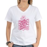 Pink Anti-Violence Women's V-Neck T-Shirt
