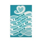 No Glorifying Violence Rectangle Magnet (100 pack)