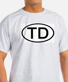 TD - Initial Oval Ash Grey T-Shirt