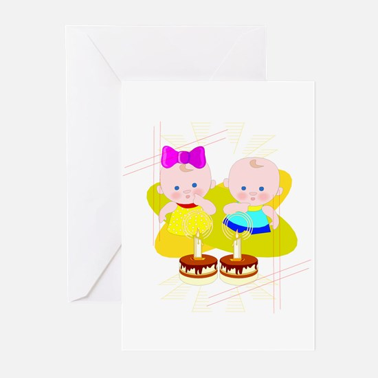 Twins First Birthday Greeting Cards – Twin Birthday Cards