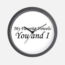 """""""Vowels: You and I"""" Wall Clock"""