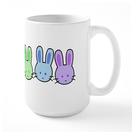 Pastel Rainbow Bunnies Large Mug