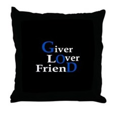 Giver Lover Friend (black) Throw Pillow
