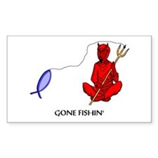 Gone Fishin' Rectangle Decal