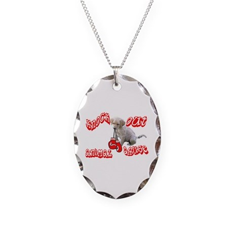 Knock Out Animal Abuse Necklace Oval Charm