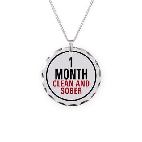 1 Month Clean & Sober Necklace Circle Charm