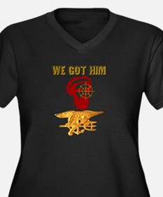 we got him Women's Plus Size V-Neck Dark T-Shirt