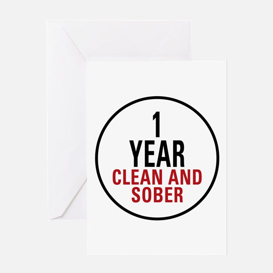 1 Year Clean & Sober Greeting Card