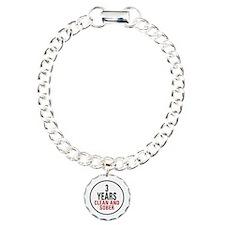 3 Years Clean & Sober Charm Bracelet, One Charm